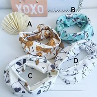 Wholesale Geometric Pattern Scarves - 4 Design Children tiger Raccoons panda animal Ring scarf new boy girl fashion Geometric pattern Pure cotton scarf B001
