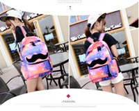 Wholesale Beard Backpack - Wholesale-New Unisex Preppy galaxy stars Moustache beard Style Bags printing backpack Universe Space Schoolbag Book bags 5 Colors