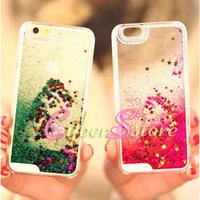Para iphone 6s 6 7 Plus Quicksand Estrela flutuante Glitter Running líquido Clear Hard Phone Back Case Shell para 7plus