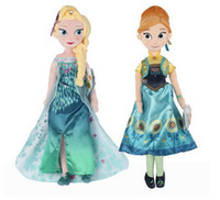 Wholesale Anna Limited - 50cm Princess Fever Elsa Doll Anna Stuffed Plush Soft Toy Stuffed Doll Boneca Figures Festa Brinquedos Toys Gift For Girl