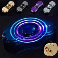 Wholesale Led Flash Lighter - Spinning Top Fidget Spiner With Flashing LED Light Metal Tri-Spinner USB Cigar Lighter Hand Toys Gift For Adults #