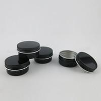 dibujos japoneses al por mayor-100 x 15 g Vacío Mini Negro Crema De Aluminio Tarro Arte de uñas Maquillaje Brillo de labios Cosméticos Vacíos Contenedores de Latas de Metal