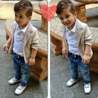 Wholesale Shirt Denim Pants - european fashion boys denim clothing sets baby kids boys jacket+polo shirt+denim pants 3-piece children denim clothing sets