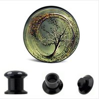 Wholesale flesh ear tunnels online - of UV Acrylic Screw Fit Love Tung Tree Logo Ear Gauge Plugs and Flesh Tunnels Ear Stretching Expander MM MM