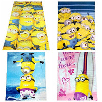 Wholesale Child Bath Robe Terry Wholesale - 72*146CM despicable me towel cotton terry towels Minion towel cartoon bath towels for children Despicable Me 2 kids beach towel in stock