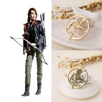 Wholesale Mockingjay Gold Wholesale - The Hunger Games Brooches alloy bird Inspired Mockingjay And Arrow Brooch Pins gold Bronze badge fashion Jewelry for Women Men 170222