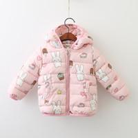 Wholesale Pink Animal Hood - Girls Coat Bunny print Hooded Outwear Warm Cotton-padded coats Pink Cartoon Sweet Sharp hood 2017 winter new style