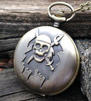 Wholesale Devil Watch - Vintage bronze Unique design Fashion quartz pirates devil guru head pattern man pendant Necklace pocket watch