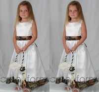 Wholesale Stain Flower - Ankle lenght Camo Flower Girls Dresses For wedding Stain Crew A Line Cute Pageants Gowns for Girls 2016