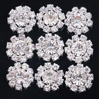 Wholesale Button Components - SZ-0029 DIY 15mm Round Sunflowers Embellishment alloy Buttons Jewelry findings & components silver Crystal Cluster Buckle 100pcs lot