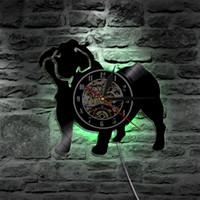 Wholesale french vintage art - French Bulldog Pet Animals Led Vinyl Clock Wall Light Color Change Vintage LP Handmade Art Decor Lamp Remote Controller,Christmas gift