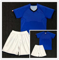 Wholesale Italy Trains - 1718 Italy Azzurri soccer training set 1718 high quality Daniele De Rossi and Graziano Pell blue short sleeved soccer suit