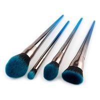 Wholesale silver bb resale online - 4 set Diamond Makeup Brush Silver Blue Handle Facial Foundation Powder Blusher BB Cream Eyeshadow Eyeliner Eyebrow Make up Brushes Set