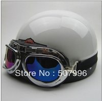 Wholesale Motorcycle Half Helmets Victory - Wholesale-Free shipping Hot Goggles summer Motorcycle Half Face Motorbike Victory Helmet Motorcycle Racing Helmet White D-633W