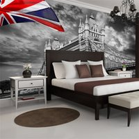 Wholesale Uk Room Decor - London Parliament City Urban photo wallpaper Custom Wall Mural Vintage UK Flag Wallpaper Giant Art Room decor Bedroom Kid's Room Living room
