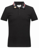 Wholesale High V Necks Shirts Mens - New Luxury Brand embroidery t shirts for men Italy Fashion poloshirt shirt men High street Snake Little Bee Tiger print mens polo shirt