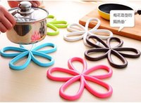 Wholesale Fashion Coasters - 5 Color Plum shape Silicone hot mat Creative fashion quality Anti slip table PVC pot pad Coasters Bowl pad Disc pad