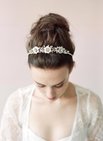 Wholesale Pearl Headbands For Wedding - New Collection Beautiful Bridal Hair Accessories Flower Beads 2016 Handmade Girl's Party Headbands Shiny Wedding Headpieces for Bride CPA462