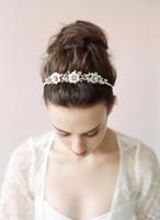 gelin şeritleri çiçekler toptan satış-Yeni Koleksiyon Güzel Gelin Saç Aksesuarları Çiçek Boncuk El Yapımı kızın Parti Bantlar Gelin için Parlak Düğün Headpieces CPA462