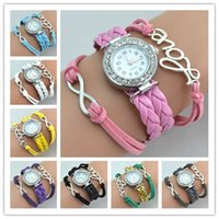 Wholesale Wrist Watch Love - Infinity Watches Wrap Bracelet Watches Weave Leather Wrist Watches Fashion Love Women Leather Quartz Watch Mix Colors Drop Free Shipping
