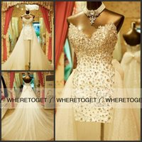Wholesale Trailing Sequin - 2015 Charming Beading Crystal A-Line Wedding Dresses Sweetheart Bow Sash With Detachable Trailing Bridal Gowns Sequin Tulle Plus Size