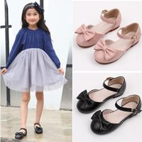 Wholesale Dancing Cow - Kids PU leather shoes Brand children Bows princess single shoes kids dance footwear outdoor shoe sweet girl wedding party shoes R0909