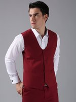 Wholesale Men Satin Waistcoat - New Arrival Groom Vests Red Groomsmens Best Man Vest Custom Made Size and Color Four Buttons Wedding Prom Dinner Waistcoat K207