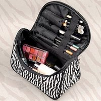 Wholesale Stylish Cosmetic Bags - New Stylish Foldable Cosmetic Zebra Pattern Bag Handbag Travel Pouch Toiletry Organizer Makeup Essential