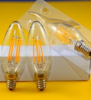 Wholesale E14 Candle 5w Dimmable - New Design 3W 5W E14 220V 110V AC Dimmable E12 C35 LED Filament Candle Bulbs CRI 80 360 Degree 12 Pcs Per Lot Free Shipping