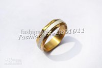 Wholesale Gold Mix Design Rings Jewelry - Stainless Steel Womens Fashion Ring 36pcs Gold Color Beveled Band Silver Sparkle Design Jewelry R391
