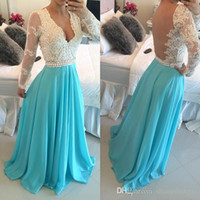 Wholesale See Through Bodice Prom Dresses - 2017 Sky Blue Prom Dresses with Long Sleeves A Line Scalloped Lace Bodice Beaded Pearls See Through Back Long Homecoming Dresses Chiffon