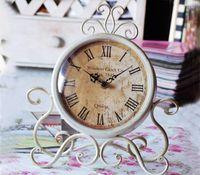 Wholesale Designer Watches Led - locks Desk Table Clocks Europe metal desktop mute vintage home decor watch electronic designer bedroom decoration clock frozen clock rel...