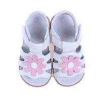 Wholesale Zapatos Flower Girl - baby girls sandals white T-Strap open toe pink flowers summer style kids flat sandals walker shoes chaussure enfant zapatos bebe SandQ baby