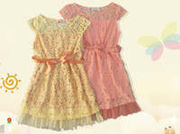 Wholesale Wholesale Birthday Clothes For Children - Little Girls Birthday Princess Dresses Ribbon Belt Flower Lace Girls Dresses Children Vintage Dress For Events Kids Clothing summer