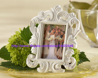 Wholesale Silver Wall Photo Frames - 50pcs lot Black Or White Color Ornate Baroque Style Photo Picture Frame Wedding Party Table Wall Card Holder Gift