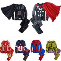 Wholesale Iron Man Underwear - new children Cartoon iron Man Hulk Spider-Man Captain America boy cosplay pajamas sets spring kids baby Under-shirts leggings underwear suit