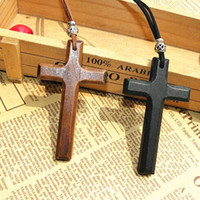 Wholesale leather pendant cords - Discount wooden cross pendant necklace vintage beads leather cord sweater chain men women jewelry handmade stylish 15pcs