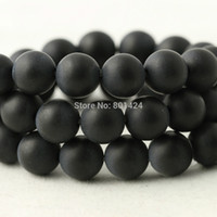 Wholesale Polished Stone Jewelry - free shipping 74-904 4mm 6mm 8mm 10mm 12mm round black Dull Polish Matte Onyx Agate Stone beads Loose Beads for jewelry making