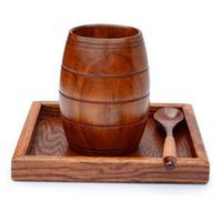 Wholesale jujube wholesale - Wooden Big Belly Beer Cup Jujube Wood Carved Three-line Classical Wooden Cup Wine Tea Juice Beer Wood Cup 100pcs LJJO3544