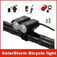 Wholesale Cree Led U2 Bike Light - SolarStorm 5000Lm 2x CREE XML U2 LED Front Bicycle Bike HeadLight Headlamp Light+ Battery Pack + Charger+Tail lights