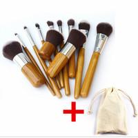 ingrosso maniglie di bambù-Pennello professionale 11pcs / lot manico di bambù spazzole di trucco, 11pcs compone il set di pennelli cosmetici corredi di strumenti di spazzola