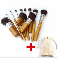 Wholesale Make Up Brush Set Bamboo - Professional brush 11pcs lot bamboo handle makeup brushes,11pcs make up brush set cosmetics brush kits tools