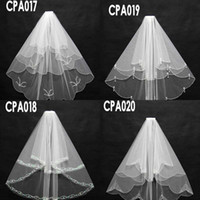 Wholesale Pearl Socks - New Arrival Top Selling Cheap In Sock CPA017-20 Bridal Wedding Veils Beading Sequins Short Three Lay-er Bridal Wedding Accessories Net Veils