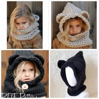 Kids Knitted Cute Bear Bufanda Caps Girls Infant Warm Knitted Hats más caliente Gorro de Invierno Sombrero de Punto Cálido Cap KKA3455