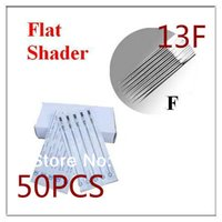 Wholesale Disposable Grip Steel - Wholesale-Hot sale 50pcs set Disposable Sterilized Tattoo Needles Flat Shader Needles Stainless Steel for tattoo tips tattoo grip 13F