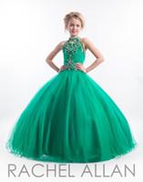 uzun elbise boyutu 12 çocuk toptan satış-2020 Ucuz Kızlar Pageant Gençler Yüksek Elbiseler Anahtar Deliği Boyun Kristal İnci Boncuklar Yeşil Uzun Boyutu 13 Parti Uzun Çocuklar Çiçek Kız törenlerinde
