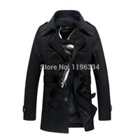 Wholesale Cheap Trench Coats For Men - Fall-TOP QUALITY long trench coat for men red jacket with hood cheap long wind coat men outdoors overcoat belt big size 4XL FREE SHIP