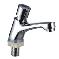 Wholesale Brass Basin mixer self closing time delay single hole cold water basin taps faucets