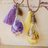 Wholesale Vintage Glass Bulb Pendants - Vintage Wish Bottles Bulb Necklaces Real Dried Yellow Purple Lavender Flowers Tassels Glass Vial Women Long Costume Sweater Necklace nxl050