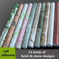 Wholesale Pink Paper Wallpaper - Wholesale- 0.45*10m PVC Self Adhesive Wallpaper Roll do not need glue wall paper 3d brick stone decorative wallpaper for walls